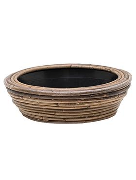 Schaal Drypot Rattan Stripe 30 cm grijs