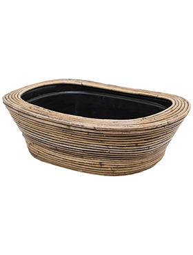 Schaal Drypot Rattan Stripe 49 cm grijs