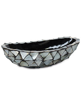 Coast oval boat Mother of Pearl Silver Blue 46 cm