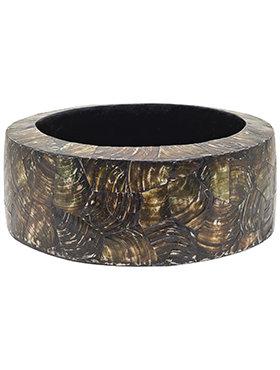 Oceana Pearl Cracked Table Planter - Cylinder Black Brown Ø36